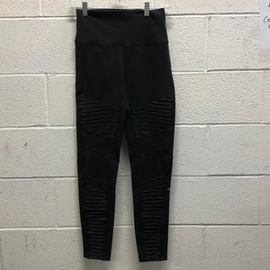 Alo yoga black hi waste Moto leggings sz L 62779